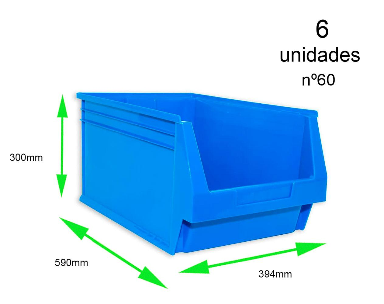 Gaveta apilable 60. Lote de 6 unidades (30hx39.4x59cm) Azul Ty-gaveta60 6/u