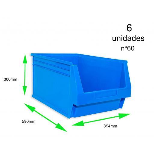 Gaveta apilable 60. Lote de 6 unidades (30hx39.4x59cm) Azul Ty-gaveta60 6/u [0]