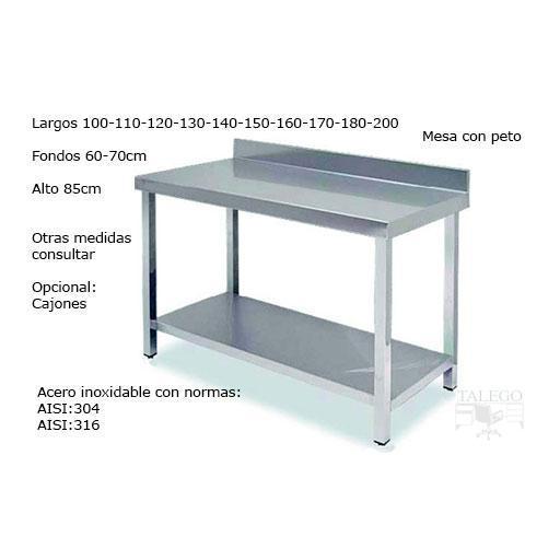 Mesa de acero inoxidable con peto norma AISI304