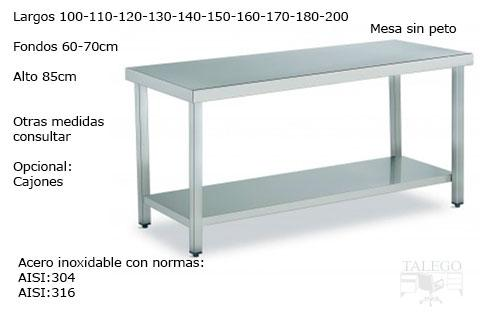 Mesa de acero inoxidable sin peto norma AISI304