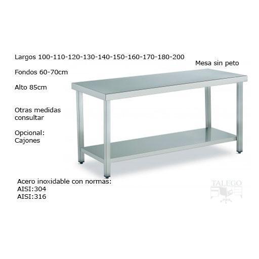 Mesa de acero inoxidable sin peto norma AISI304 [0]