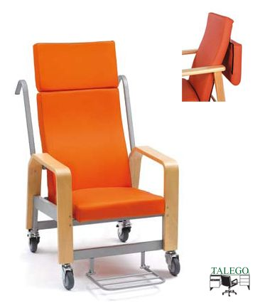 Sillon traslado respaldo reclinable partido, asiento movil me-916