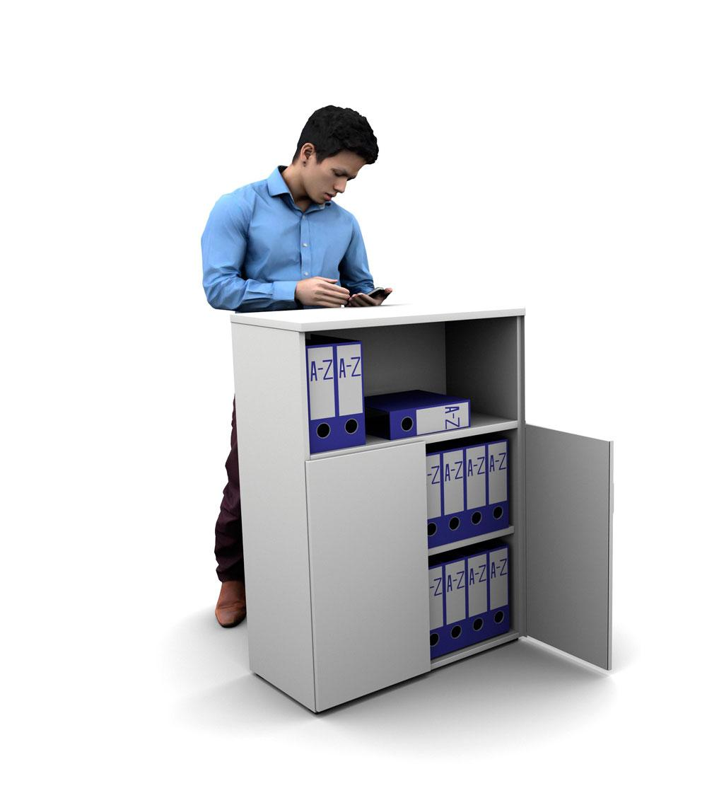 Armario de oficina 113hx80x42cm blanco, con puertas abajo mas hueco ber