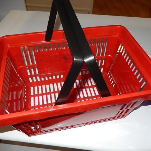 10  cestas de la compra con asas roja