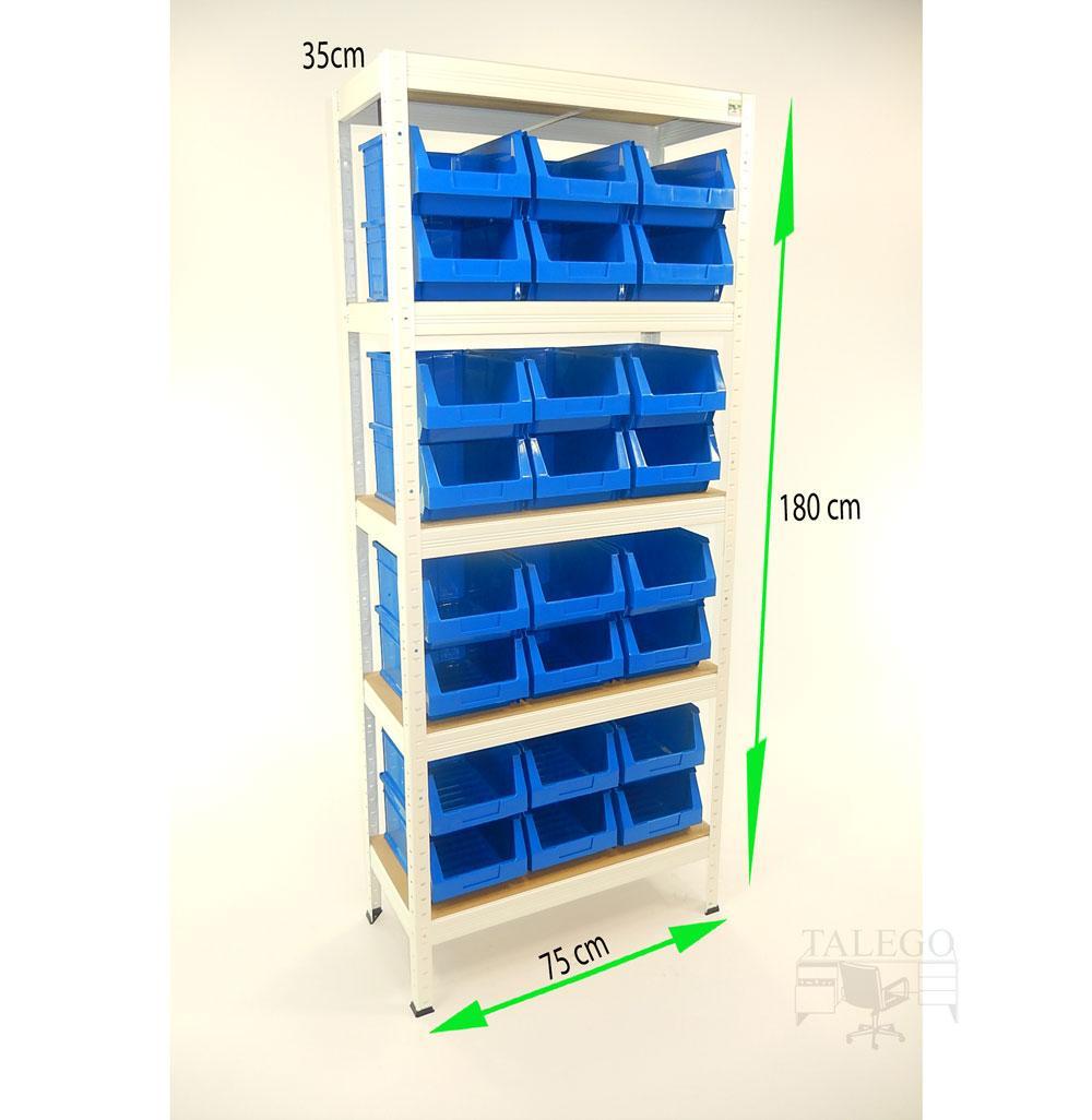Estanteria metalica con gavetas de plastico ko-futal75-35gav54